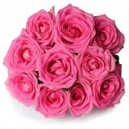 10 Pink Rose Bunch