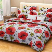 White With Red Floral  Bed Sheet