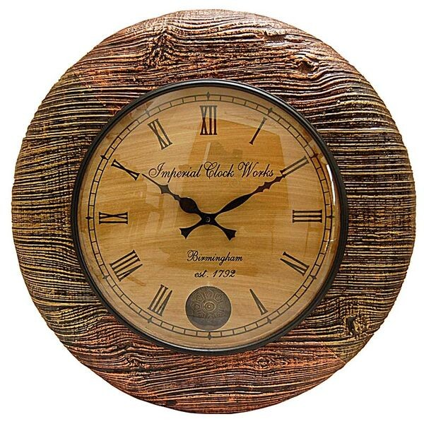 Antique natural wooden shade wall clock for Antique wall clock wood