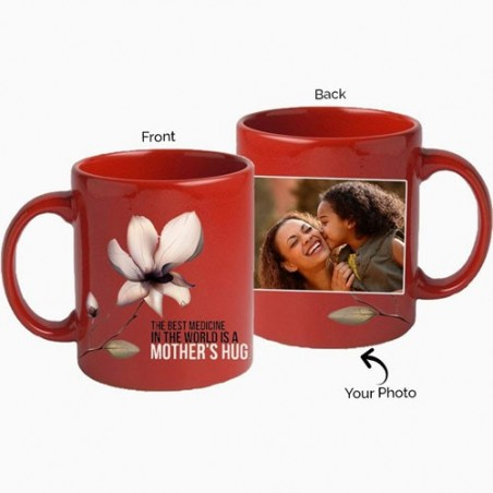 Red Personalised photo mug for mom