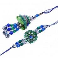Blue Green Beads Bhaiya Bhabhi Rakhi