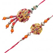 Multicolor Beads Pearls Bhaiya Bhabhi Rakhi