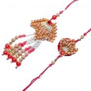Wooden Beads And Pearl Bhaiya Bhabhi Pair Rakhi