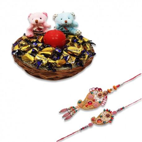 Keri Design Wooden Beads Bhaiya Bhabhi Rakhi With Eclairs Chocolate