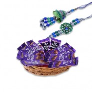 Blue Green Beads Bhaiya Bhabhi Rakhi With Dairy Milk Basket Hamper
