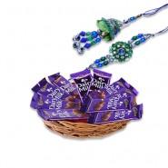 Blue Green Beads Bhaiya Bhabhi Rakhi With Dairy Milk Basket Hamper