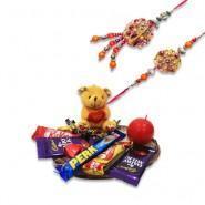 Multicolor Beads Pearls Bhaiya Bhabhi Rakhi With Chocolate World