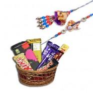 Zardoshi Work Beads, Pearl Bhaiya Bhabhi Rakhi With Homeliness Gift basket