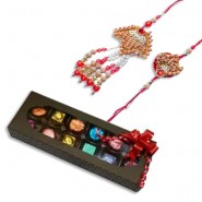 Wooden Beads And Pearl Bhaiya Bhabhi Pair Rakhi With Handcrafted Chocolates