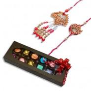Wooden Beads And Pearl Bhaiya Bhabhi Pair Rakhi With Handcrafted Chocolates