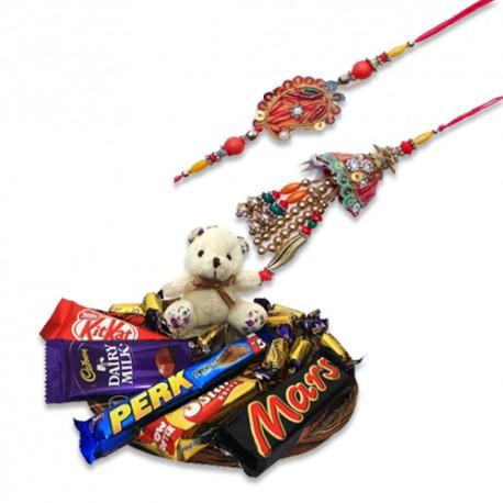 Multicolor Beads Keri Design Bhaiya Bhabhi Rakhi With Sweet Teddy N Chocolates