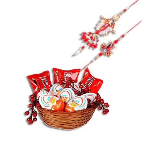 Red, Silver And Copper Beads Bhaiya Bhabhi Rakhi With Kinder Joy Treats