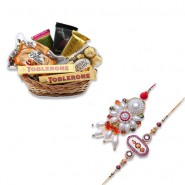 White Pearl Bhaiya Bhabhi Rakhi With Thank You Gift Basket