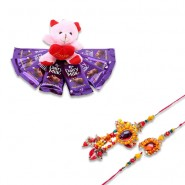Heavy Crystal With Beads Bhaiya Bhabhi Rakhi With Dairy Milk Chocolate Teddy