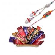 Conch With Colorfull Beads Bhaiya Bhabhi Rakhi With Tray With Chocolates