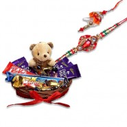 Red Crystal Diamond Beads Bhaiya Bhabhi Rakhi With Chocolates With Cute Teddy