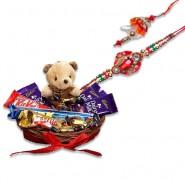 Red Crystal Diamond Beads Bhaiya Bhabhi Rakhi With Chocolates With Cute Teddy