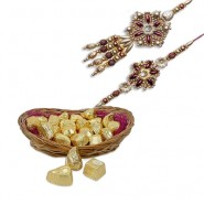Golden Beds Rudraksh Bhaiya Bhabhi Rakhi With Delectable Chocolates Hamper
