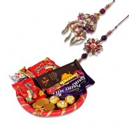 Leaf Rudraksh Bhaiya Bhabhi Rakhi With Happy Food Hamper