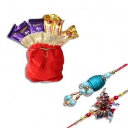 Copper Beads, Om Bhaiya Bhabhi Rakhi With Chocolates Potli