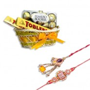Kundan Beads Bhaiya Bhabhi Rakhi With Candy Basket