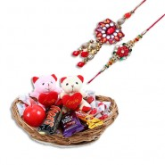 Colorfull Beads Wooden Flower Bhaiya Bhabhi Rakhi With Basket of Love