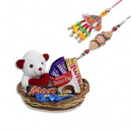Colorfull Beads Wooden Flower Bhaiya Bhabhi Rakhi With Cute teddy basket