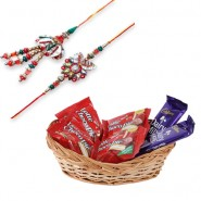 Colorfull Beads, Leaf Bhaiya Bhabhi Rakhi With Chocolate Basket