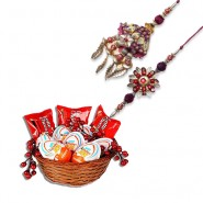 Diamond, Beads Bhaiya Bhabhi Rakhi With Kinder Joy Treats