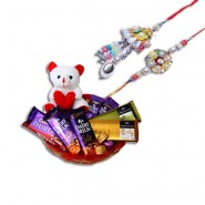 Pearls Silver Beads Bhaiya Bhabhi Rakhi With Branded Chocolate Basket