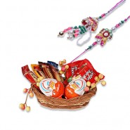 Pearls, Multicolor Beads Bhaiya Bhabhi Rakhi With Fun For Little Ones