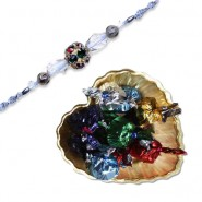 diamond, Beads Bhaiya Bhabhi Rakhi With Golden Heart Tray