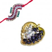 Antique Colourfull Diamond Rakhi With Golden Heart Tray