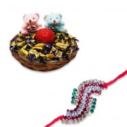 Antique Colourfull Diamond Rakhi With Feel Good With Love