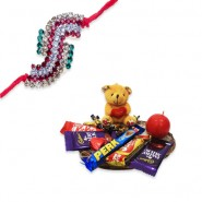 Antique Colourfull Diamond Rakhi With Chocolate World