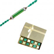 Crystal Pipe With American Diamond Rakhi With Surprise Chocolate Gift Box