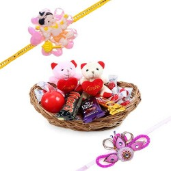 Set Of 2 Rakhi With Basket...