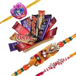 Set Of 3 Rakhi With Chocolate