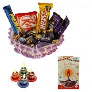 Diwali Chocolate With Diya And Greeting Card