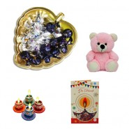 Diwali Golden Heart Tray With Teddy