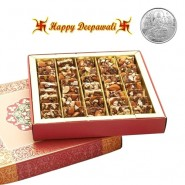 Sugarfree Nut Khut Mithai Box with Silver Plated Coin