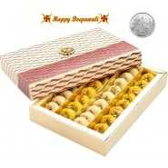 Mix Mawa Peda Mithai with Silver Plated Coin