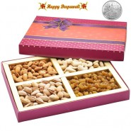 Mix Dryfruit Fancy Box with Silver Plated Coin