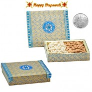 PF0045 Dryfruit Gift Box 400gms with Silver Plated Coin