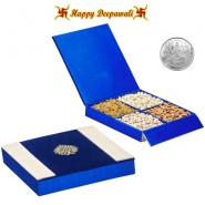 SA-DFB125 Blue Dryfruit Gift Box 400gms with Silver Plated Coin