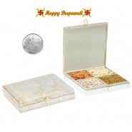 SA-221 Dryfruit Gift Box 400gms with Silver Plated Coin