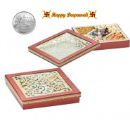 GH-501 Dryfruit Gift Box 500gms with Silver Plated Coin