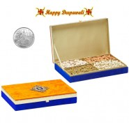 SA-DFB152 Yellow Dryfruit Gift Box 600gms with Silver Plated Coin
