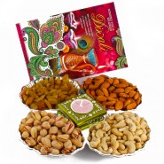 Dryfruit Hamper with Diwali Card and Diya