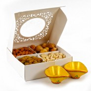 Assorted Dryfruit with Two Earthen Diyas